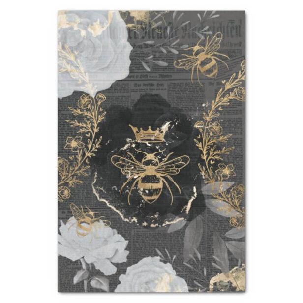 Rustic Vintage Honey Bees & Floral Roses Decoupage Tissue Paper Black