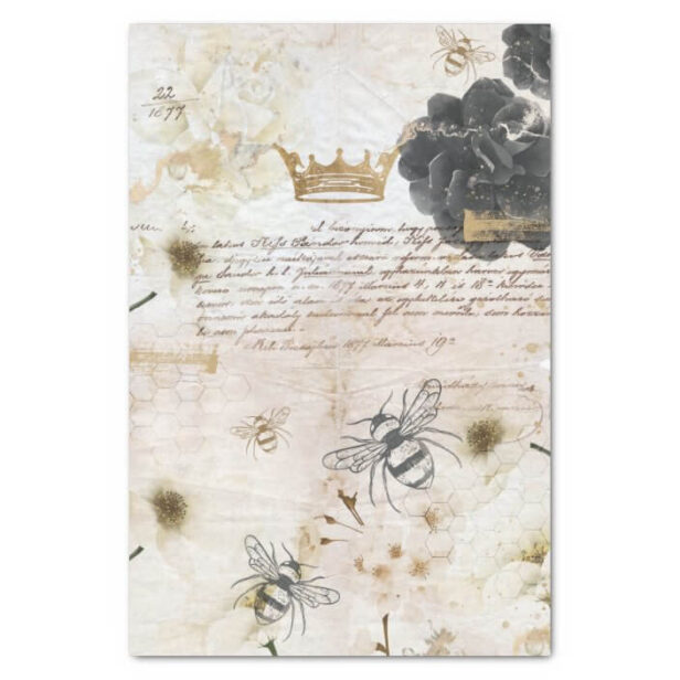 Rustic Vintage Honey Bees & Floral Roses Decoupage Tissue Paper Cream