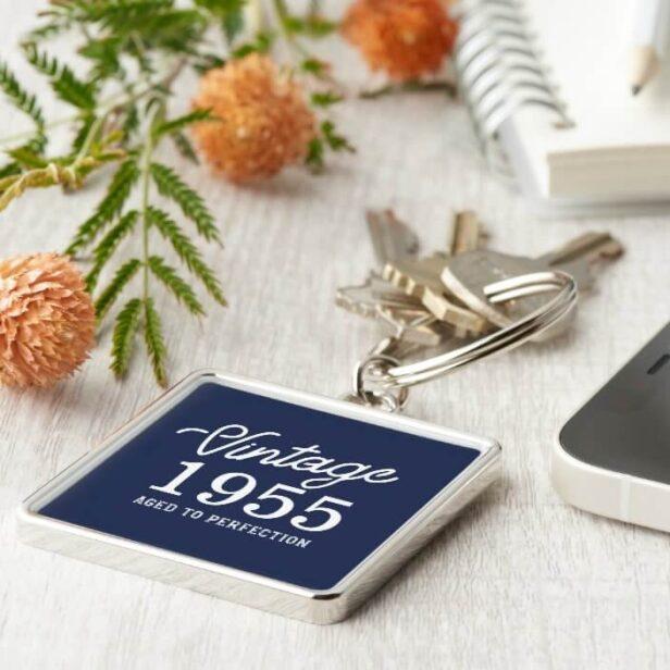 Stylish Vintage Birthday Year Aged to Perfection Navy Keychain