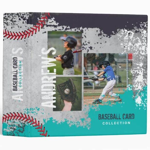 Teal & Grey Baseball Photos Scrapbook Grunge Baseball Card 3 Ring Binder