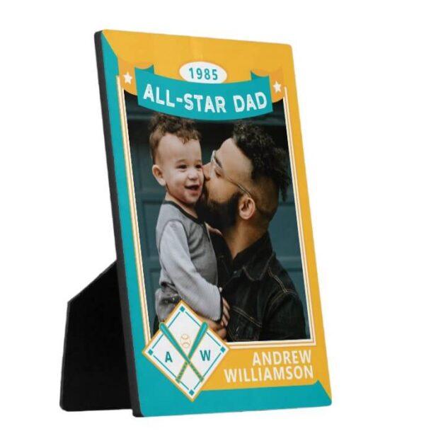 Teal & Yellow All Star Dad Custom Baseball Card Photo Keepsake Plaque