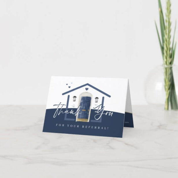 Thank You For Your Referral Navy Watercolor Door Thank You Card