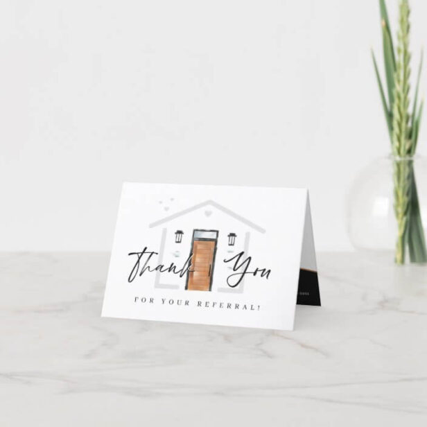 Thank You For Your Referral Wood Watercolor Door
