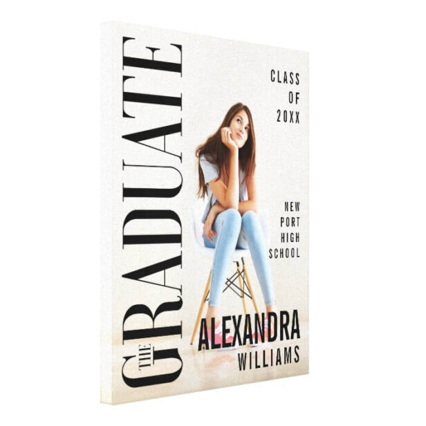 Trendy Magazine Cover Inspired Graduation Canvas Print