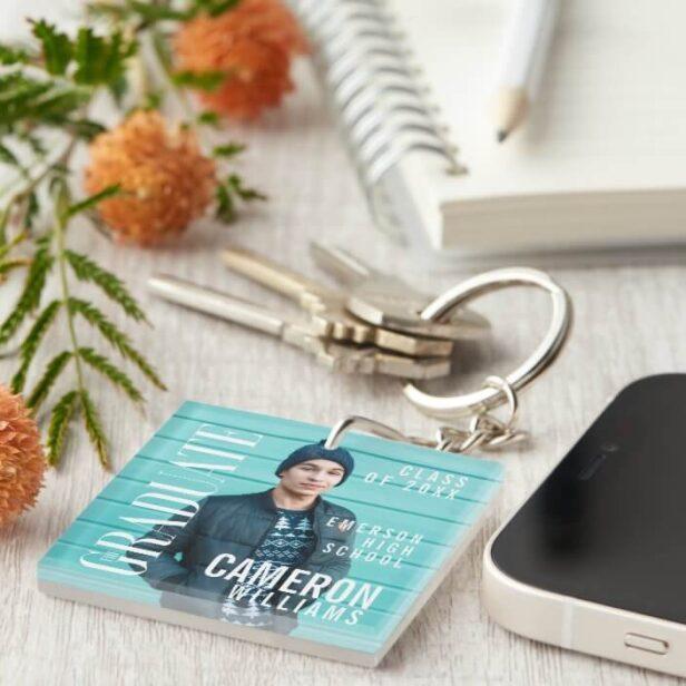 Trendy Magazine Cover Inspired White Text Graduation Keychain