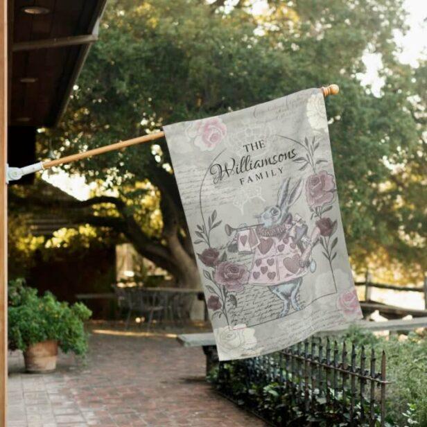 Vintage Alice In Wonderland Collage Decoupage White Rabbit House Flag