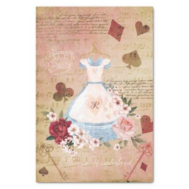 Vintage Alice In Wonderland Collage Decoupage Monogram Tissue Paper