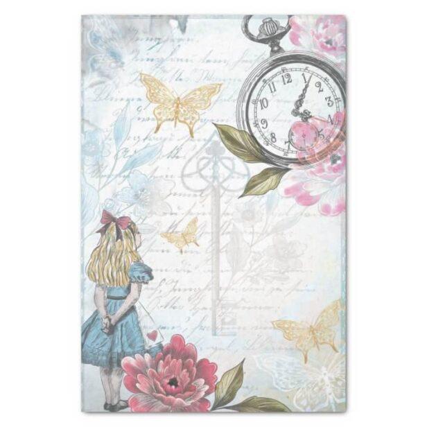 Vintage Alice In Wonderland Collage Decoupage Tissue Paper