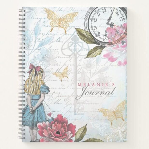 Vintage Alice In Wonderland Decoupage Collage Notebook