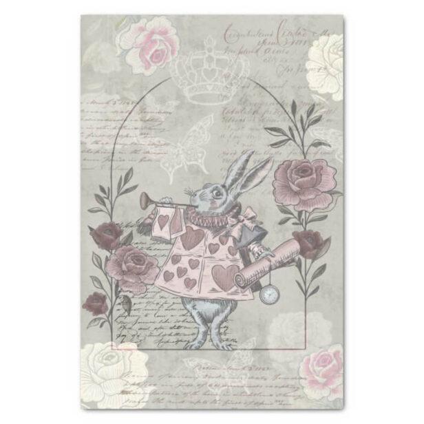 Vintage Alice In Wonderland White Rabbit Collage Decoupage Tissue Paper