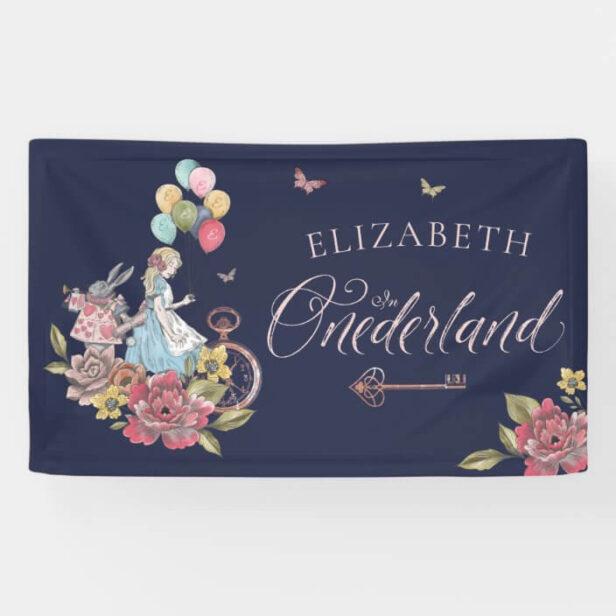 Watercolor Vintage Alice In ONEderland Birthday Navy Banner