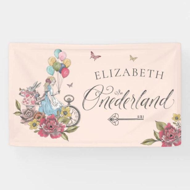 Watercolor Vintage Alice In ONEderland Birthday Pink Banner