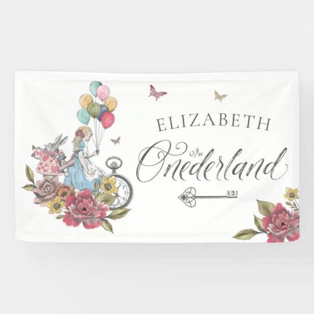 Watercolor Vintage Alice In ONEderland Birthday White Banner