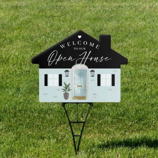 Welcome Open House Mint Watercolor Front Door Sign