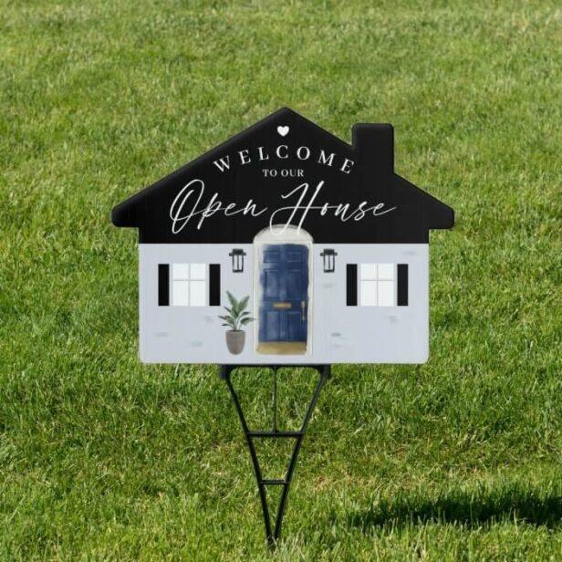 Welcome Open House Navy Watercolor Front Door Sign