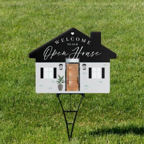 Welcome Open House Wood Watercolor Front Door Sign