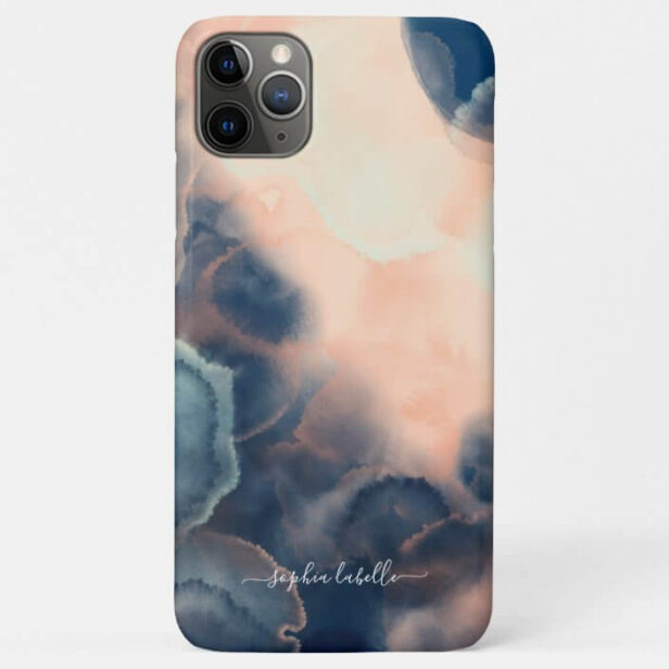 Abstract Navy, Pink & Mint Watercolor Agate Name Case-Mate iPhone Case