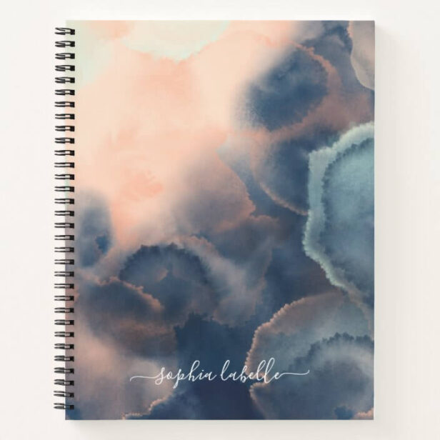 Abstract Navy, Pink & Mint Watercolor Agate Name Notebook