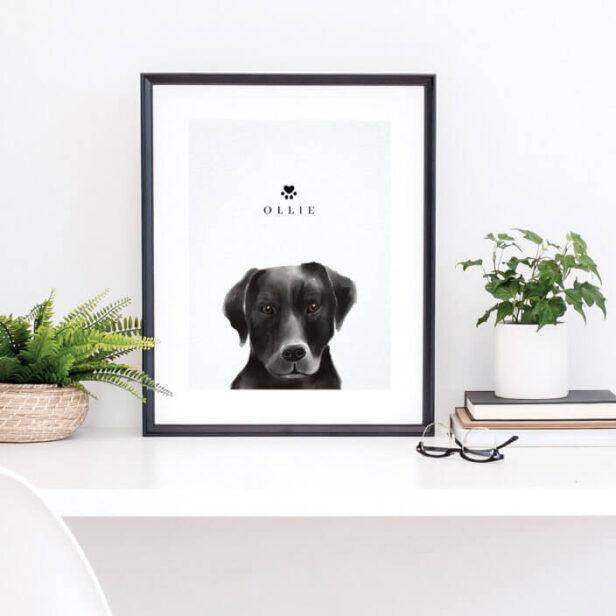 Black Labrador Watercolor Illustration Dog's Name Poster