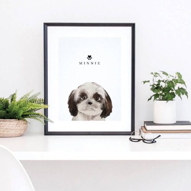 Cute Shih Tzu Watercolor Illustration Dog's Name Poster