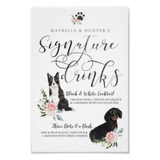 Cute Watercolor Dogs Couple's Signature Drinks Wedding Poster
