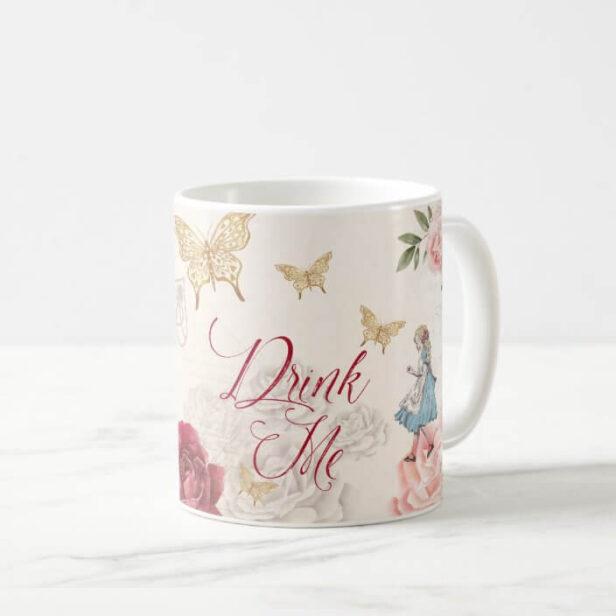 Drink Me Vintage Alice In Wonderland Collage Coffee Mug