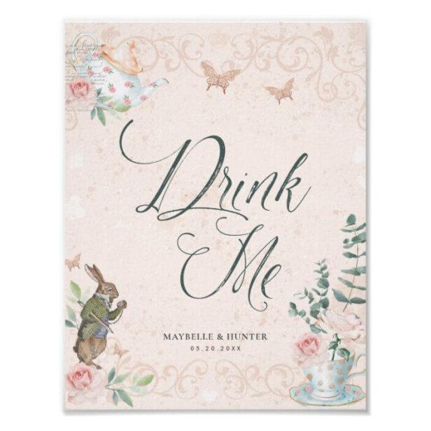 Drink Me   Vintage Alice In Wonderland Decoupage Poster
