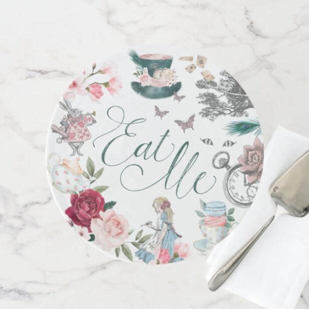 Eat Me | Vintage Alice In Wonderland Collage Cake Stand