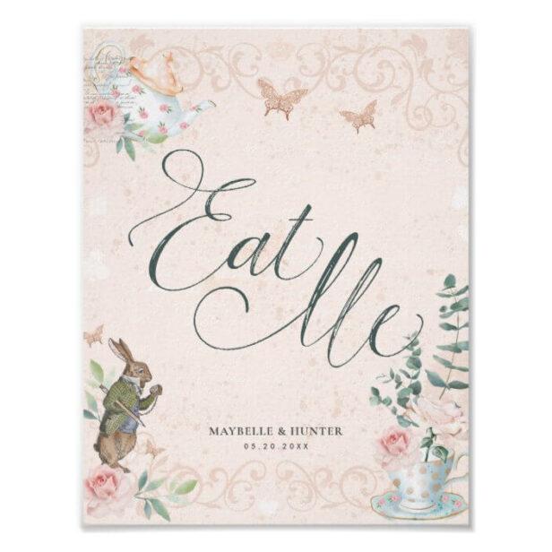 Eat Me - Vintage Alice In Wonderland Decoupage Poster