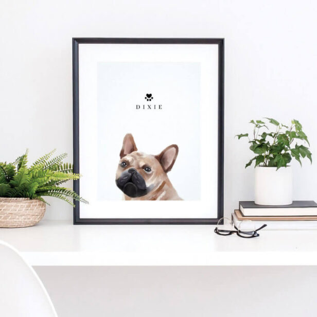 French Bulldog Watercolor Illustration Dog's Name Poster