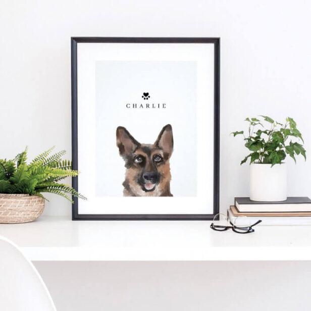 German Shepherd Watercolor Illustration Dog's Name Poster