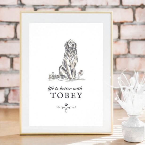 Golden Retriever Life'sBetter With Custom Dog Name Poster