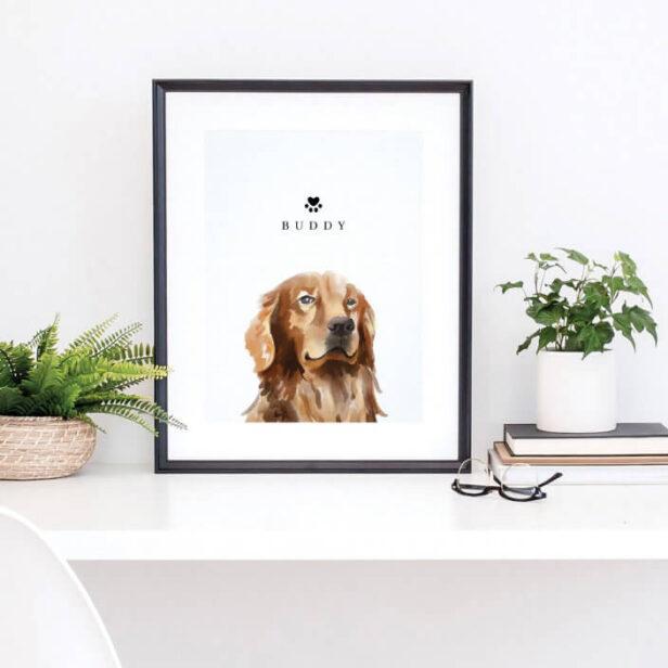 Golden Retriever Watercolor Illustration Dog Name Poster