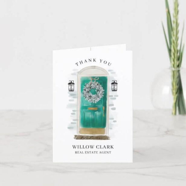 Jade Green Watercolor Front Door & Wreath Thank You Card
