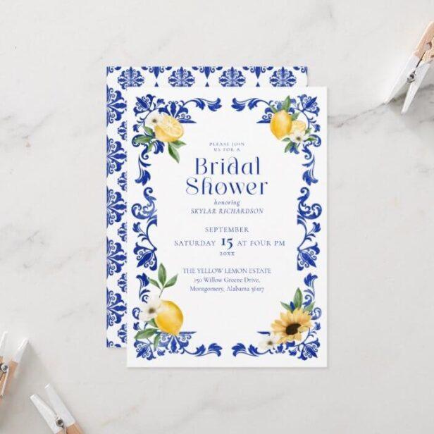 Lemon & Antique Blue Pottery Pattern Bridal Shower Invitation