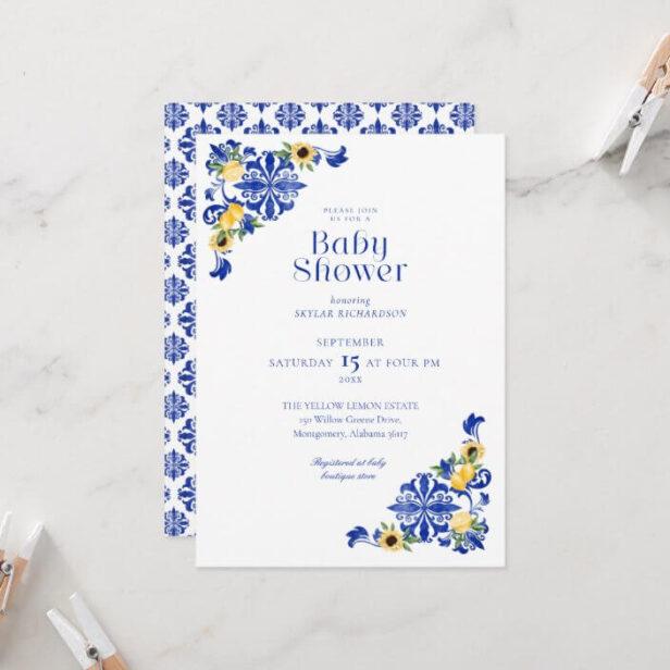 Lemons & Antique Blue Pottery Pattern Baby Shower Invitation