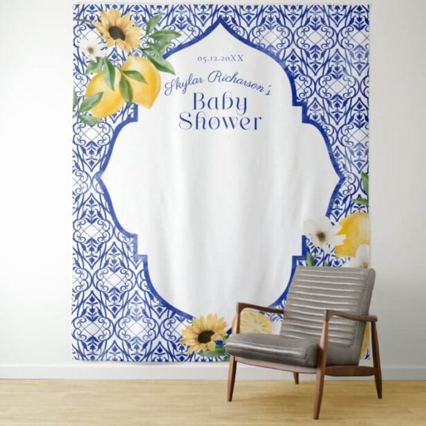 Lemons & Antique Blue Pottery Pattern Baby Shower Tapestry