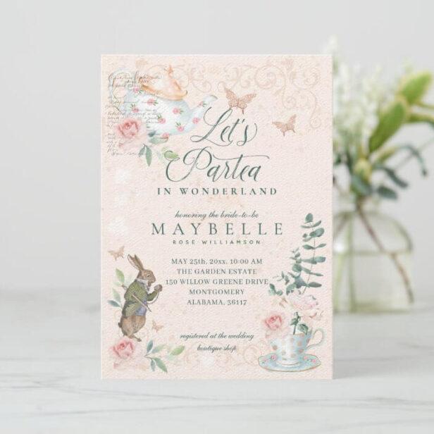 Let's Part-Tea Bridal Vintage Alice In Wonderland Bridal Shower Invitation