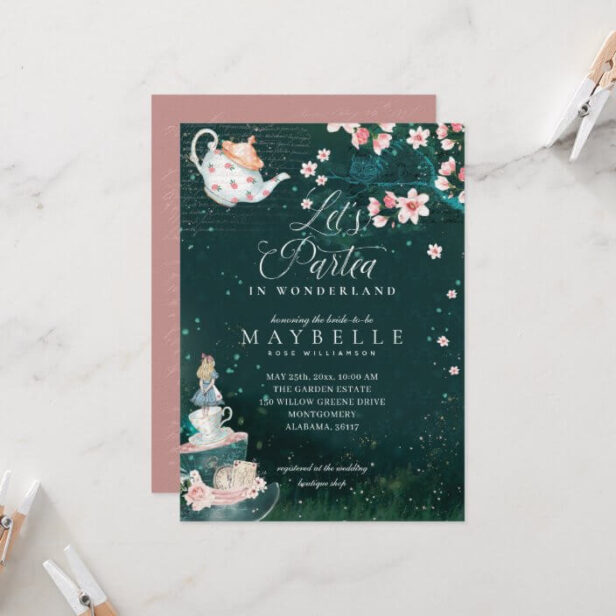 Let's Partea Bridal Alice In Wonderland Tea Party Bridal Shower Invitation