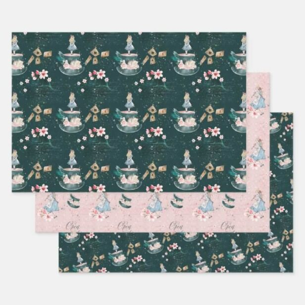 Mad Hatter Alice In Wonderland Collage Decoupage Wrapping Paper Sheets