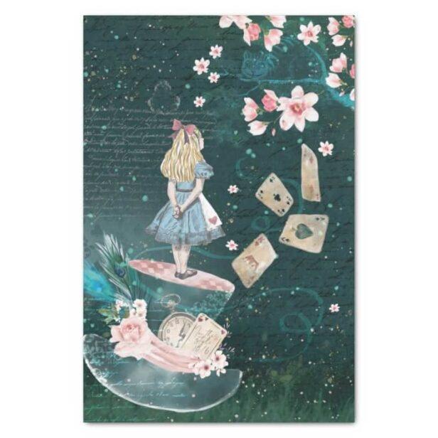 Mad Hatter Alice In Wonderland Collage Decoupage Tissue Paper