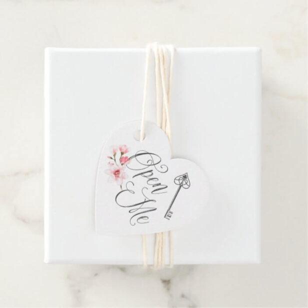 Open Me | Elegant Script Vintage Key & Florals Favor Tags