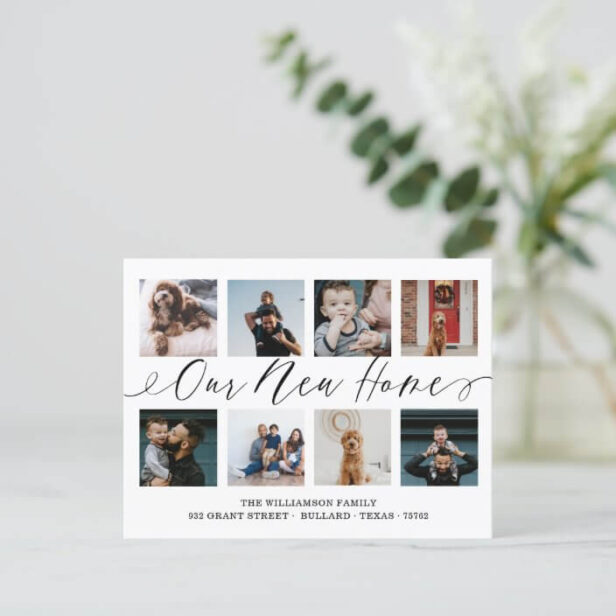 Our New Home Elegant Script Photo Collage Moving Postcard