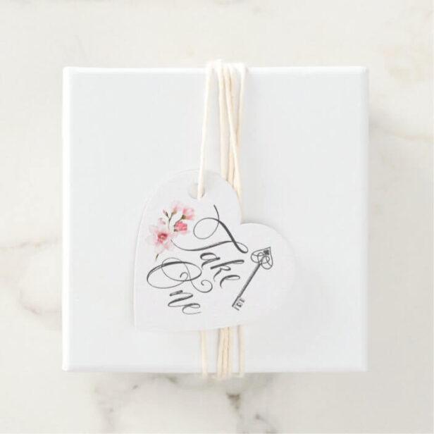 Take One Elegant Script Vintage Key & Florals Favor Tags