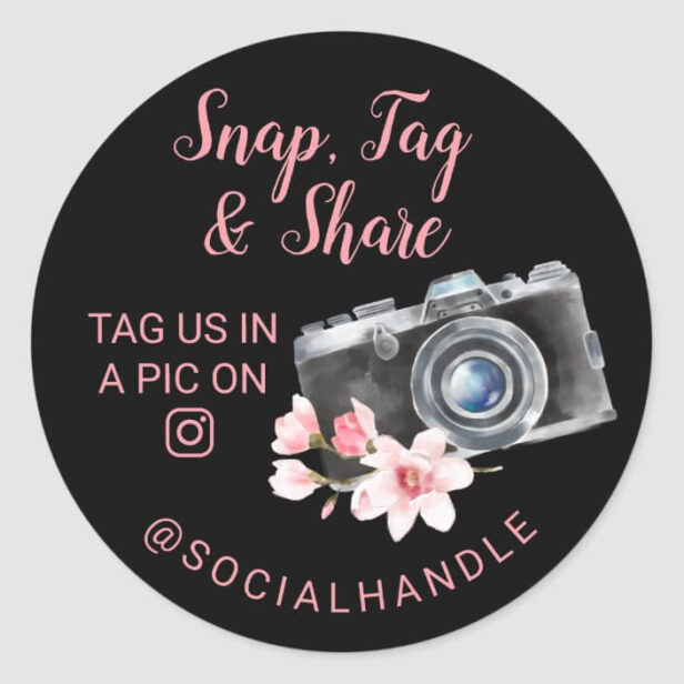 Thank You Snap, Tag & Share Chic Watercolor Camera Black Sticker