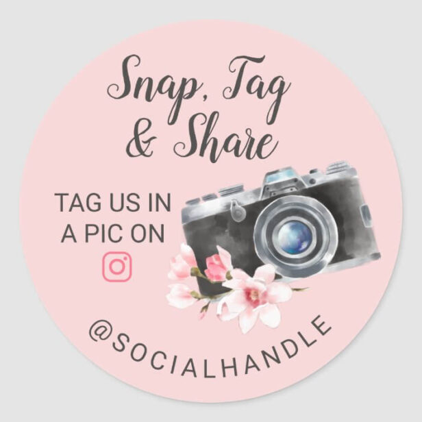 Thank You Snap, Tag & Share Chic Watercolor Camera Pink Sticker