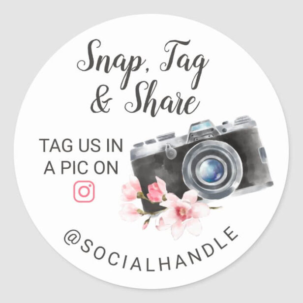 Thank You Snap, Tag & Share Chic Watercolor Camera White Sticker