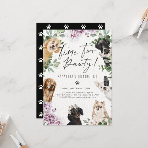 Time Two Pawty! Cute Watercolor Dogs Floral Garden Invitation