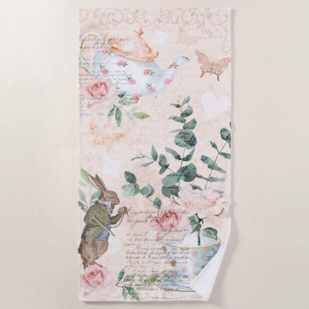 Vintage Alice In Wonderland Collage Decoupage Beach Towel