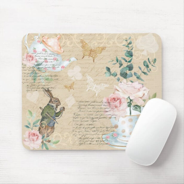 Vintage Alice In Wonderland Collage Decoupage Mous Mouse Pad